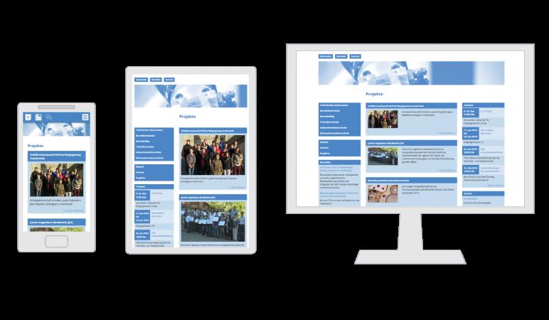 Responsive Design der Homepage der Feintechnikschule auf unterschiedlichen Geräten. Smartphone, Tablet und Desktop PC