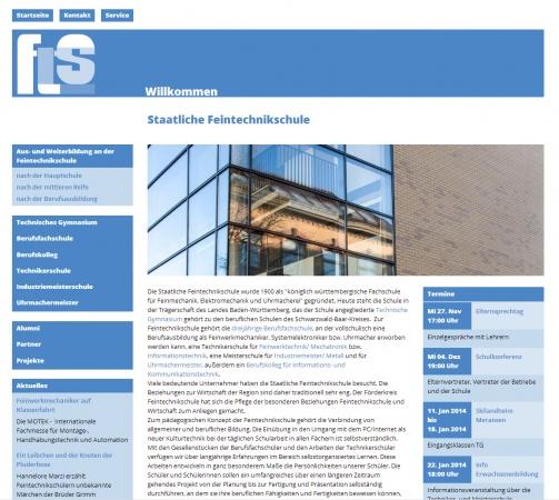 Homepage der Feintechnikschule in der Desktopansicht