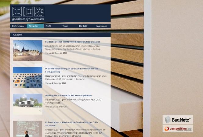 Die GMW-Architekten Homepage auf dem Desktop
