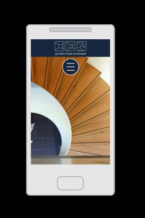Die GMW-Architekten Homepage auf einem Smartphone (responsive Webdesign)