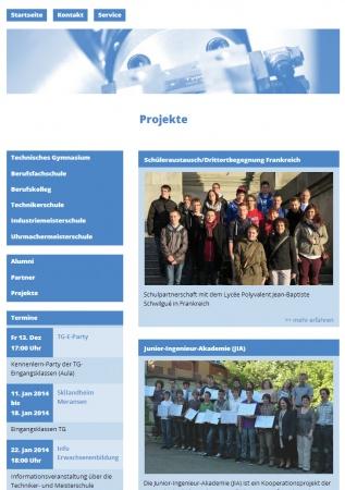 Die Seite der Feintechnikschule mit technischem Gymnasium in der Ansicht für Tablet Computer (responsive Webdesign)