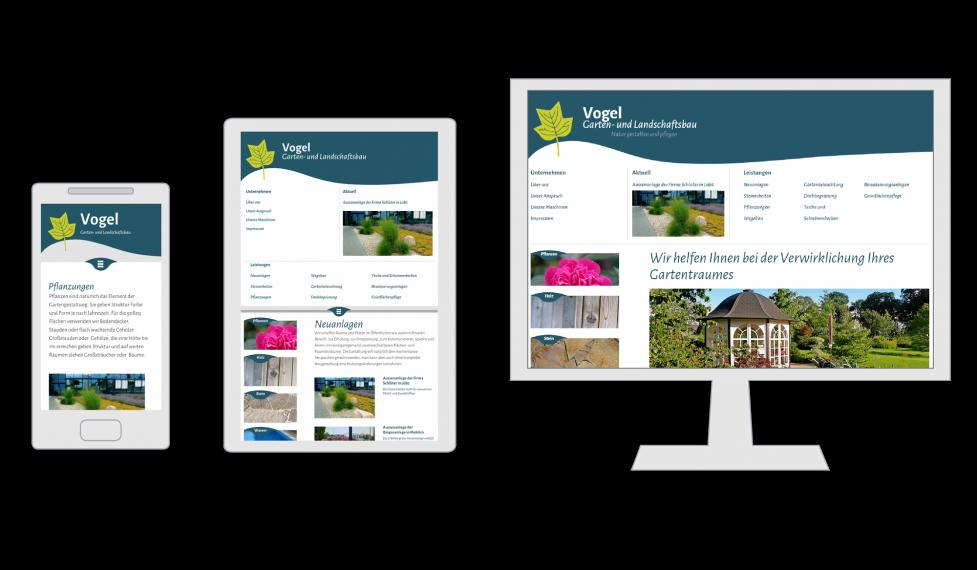 Die Homepage der Firma Garten- und Landschaftsbau Vogel auf dem Smartphone, dem Tablet und auf dem Desktop PC