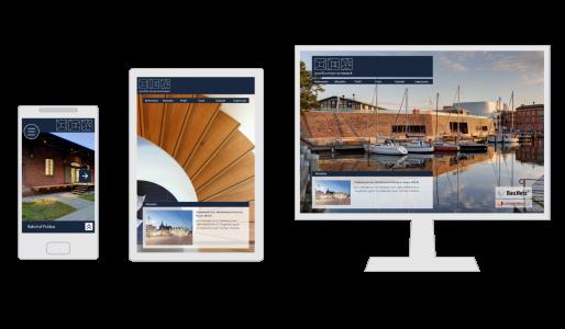 Die gmw-architekten Seite auf dem Smartphone, einem Tablet und auf dem Desktop (responsive Design)